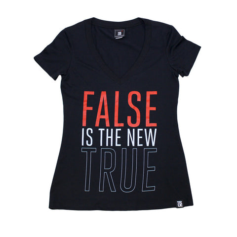 True Womens False is V-Neck T-Shirt Black