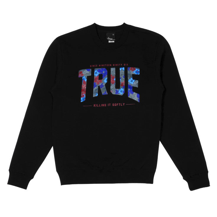 Mens True Floral 2 Crewneck Sweatshirt Black