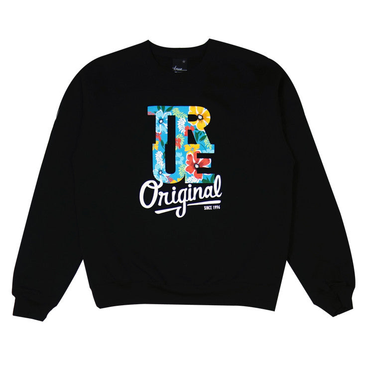 Mens True Floral Crewneck Sweatshirt Black