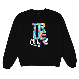 Mens True Floral Crewneck Sweatshirt Black - Shop True Clothing