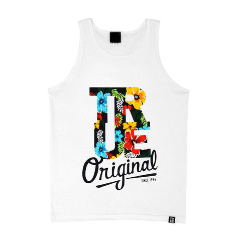 Mens True Floral Tank Top White