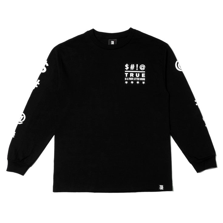 Mens True Four Letter Word Long Sleeve T-Shirt Black - Shop True Clothing