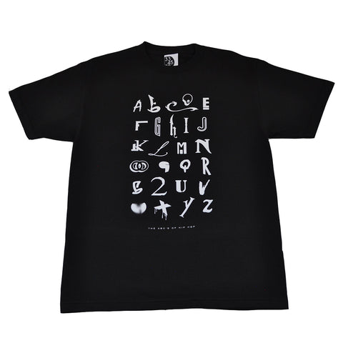 Mens Ongaku Hip Hop Alphabet T-Shirt Black