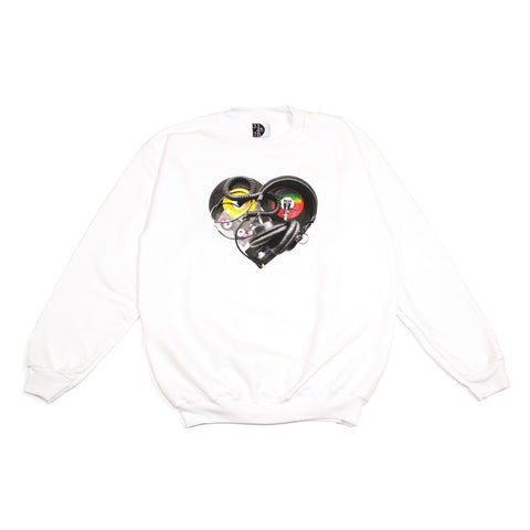 Mens Ongaku In Love Crewneck Sweatshirt White