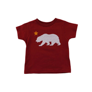 Kids Cali Bear Star T-Shirt Red - Shop True Clothing