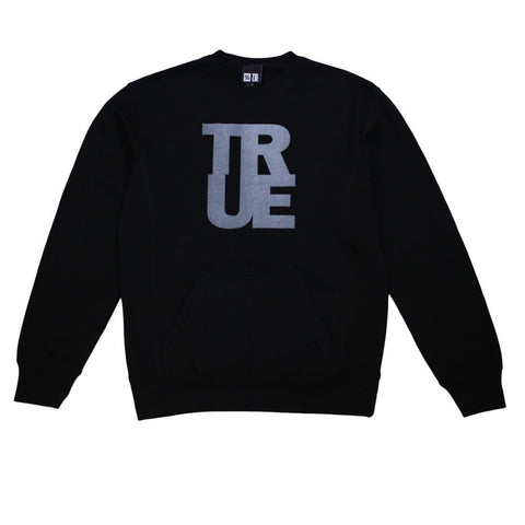 Mens True Logo Crewneck Sweatshirt Black / 3M