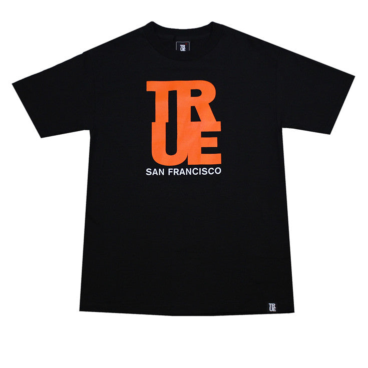 Mens True Logo SF T-Shirt Black / Orange - Shop True Clothing