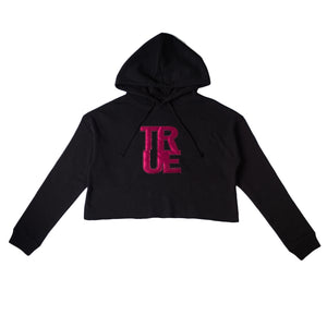 True Womens Logo Cropped Hoodie Black/Maroon