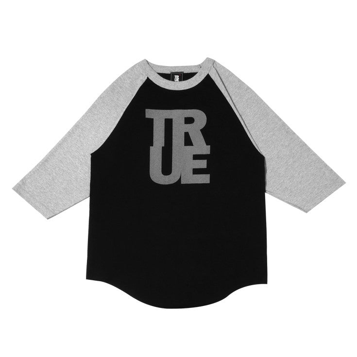 Mens True Logo Raglan T-Shirt Black/Grey