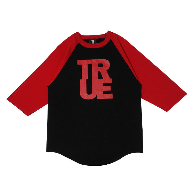 Mens True Logo Raglan T-Shirt Black/Red