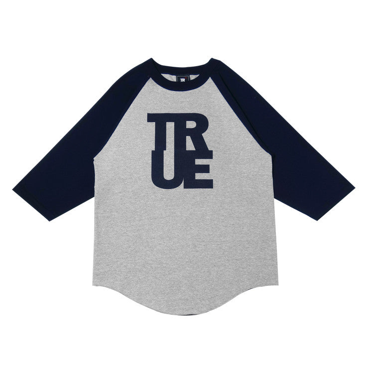 Mens True Logo Raglan T-Shirt Grey/Navy - Shop True Clothing