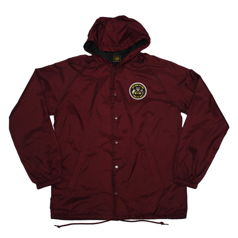 True Mens Nations Hooded Coaches Jacket Burgundy