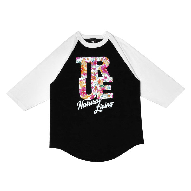 Mens True Natural Living Raglan T-Shirt Black/White