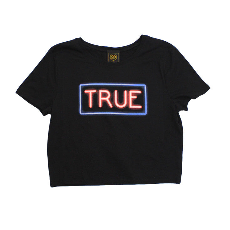 True Womens Neon Crop Top Black - Shop True Clothing