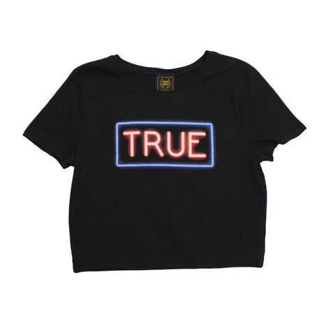 True Womens Neon Crop Top Black