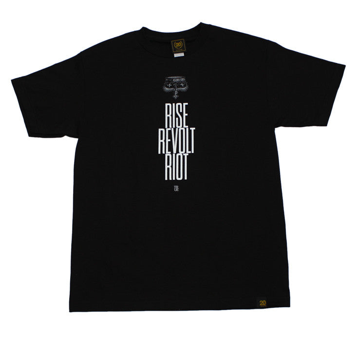 Mens True Rise Revolt Riot T-Shirt Black - Shop True Clothing