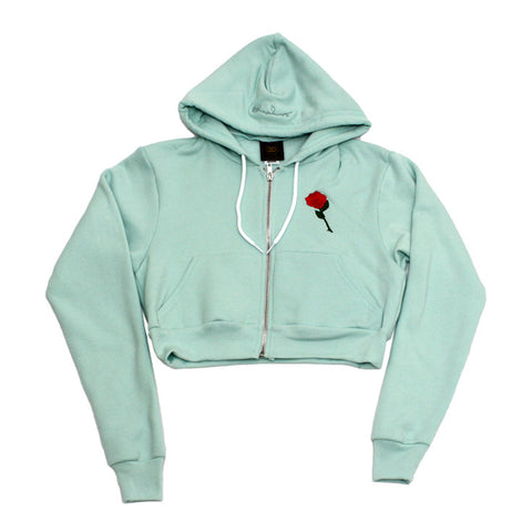 True Womens Rose Crop Hoodie Mint