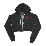 True Womens Rose Crop Hoodie Charcoal