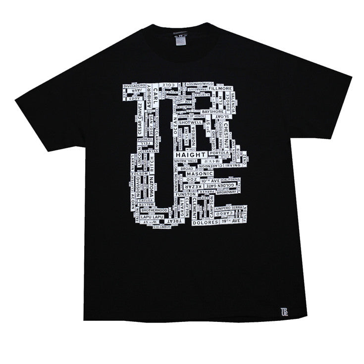 Mens True Street Signs T-Shirt Black