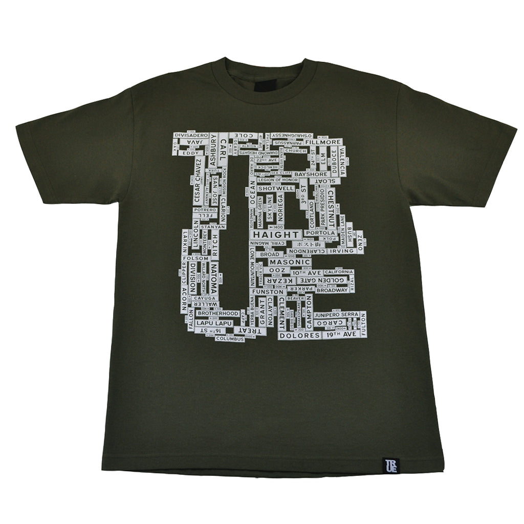 Mens True Street Signs T-Shirt Olive - Shop True Clothing