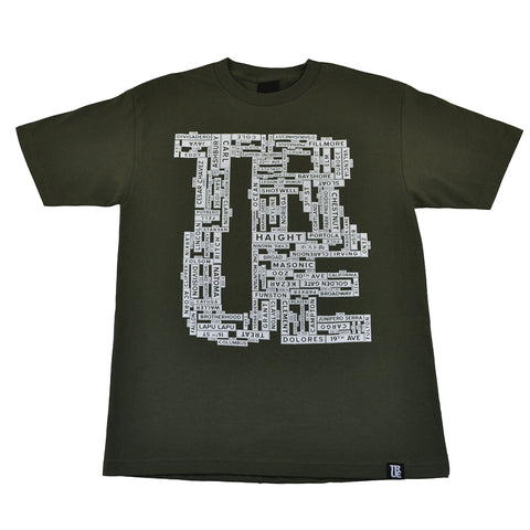 Mens True Street Signs T-Shirt Olive