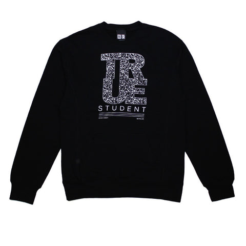 Mens True Student Crewneck Sweatshirt Black