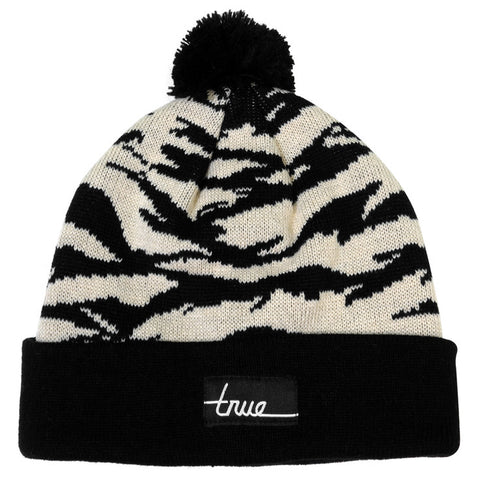 True Tiger Camo Pom Beanie Natural