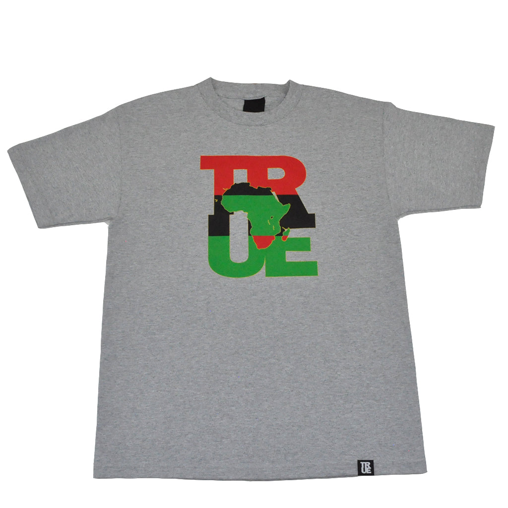 Mens True Logo Africa T-Shirt Heather Grey - Shop True Clothing
