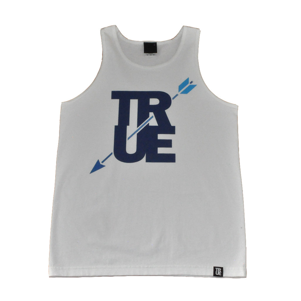 True Mens Arrow Tank Top White/Navy - Shop True Clothing