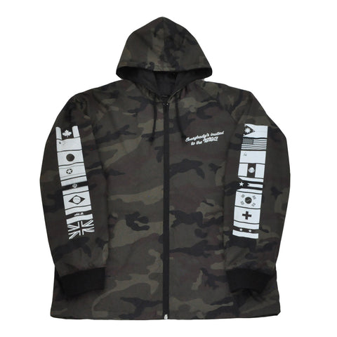 True Mens BBQ Hooded Coaches Jacket Camo