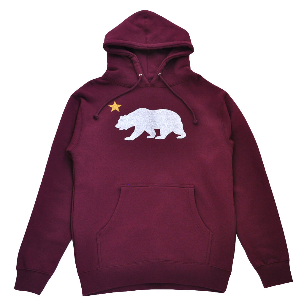 Mens True Bear Star Hoodie Burgundy - Shop True Clothing