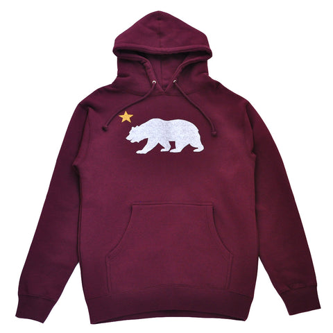Mens True Bear Star Hoodie Burgundy