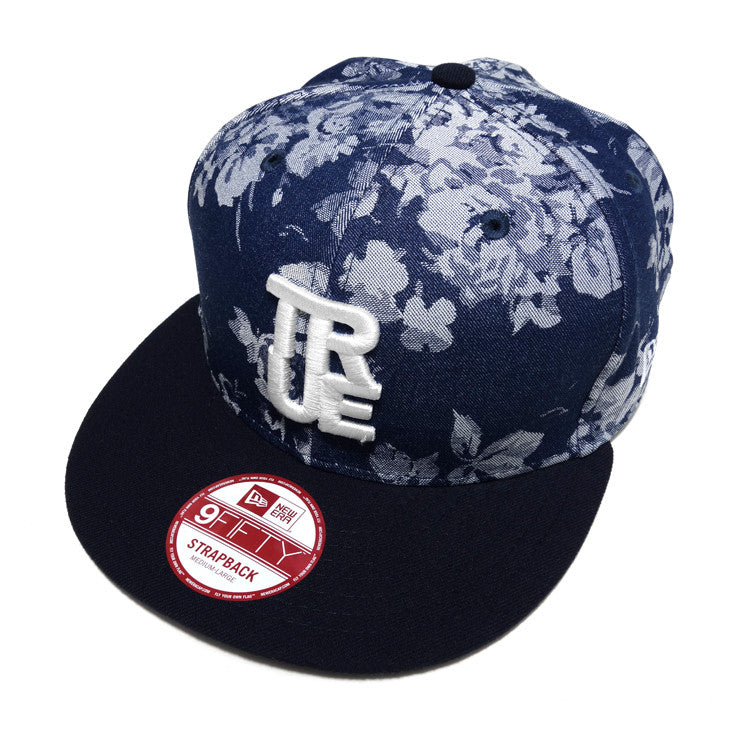 True Winter Floral New Era Strapback Cap Denim
