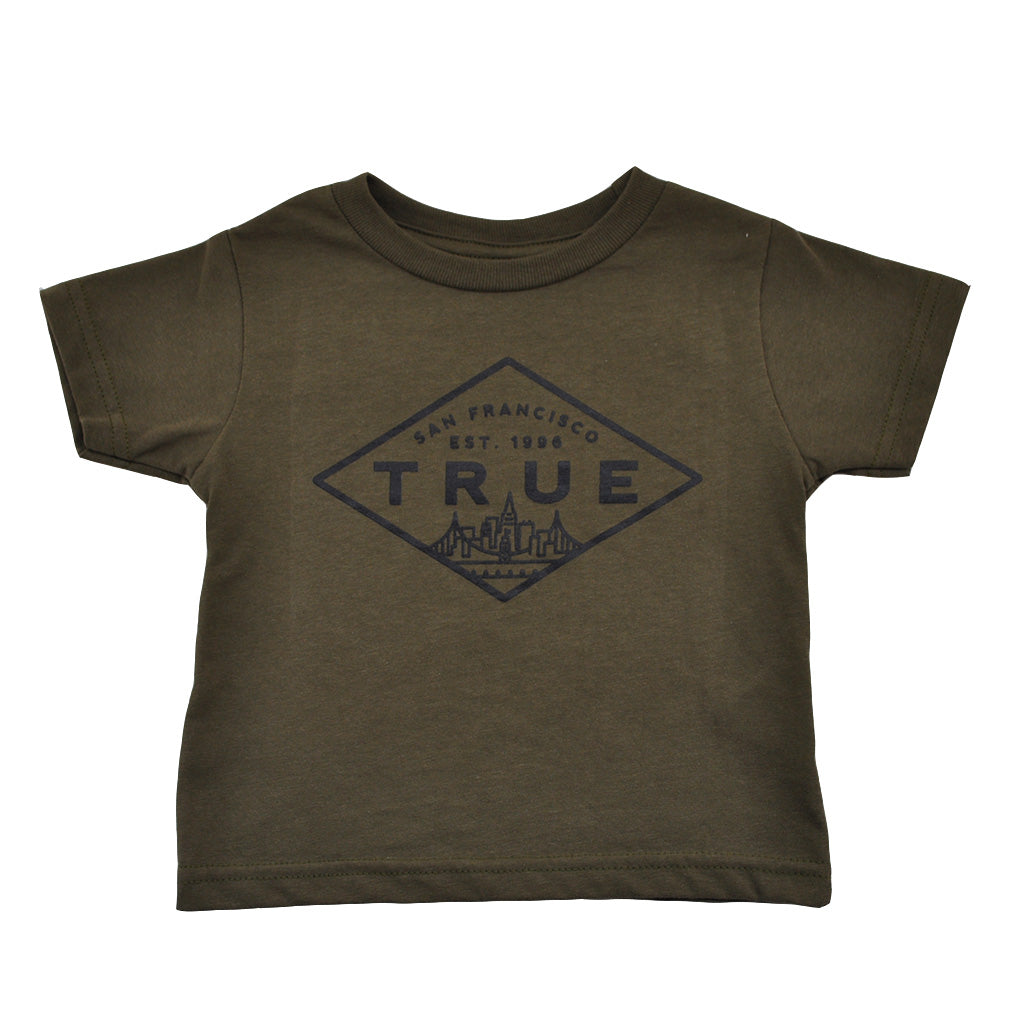 Kids True Established T-Shirt Olive - Shop True Clothing