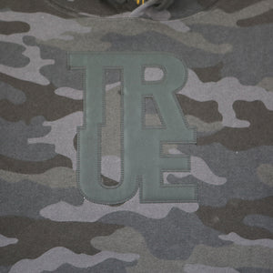 True Womens Logo Crop Hoodie Black Camo