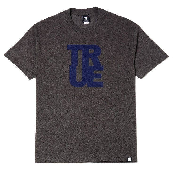Mens True Logo T-Shirt Heather Brown/Navy - Shop True Clothing