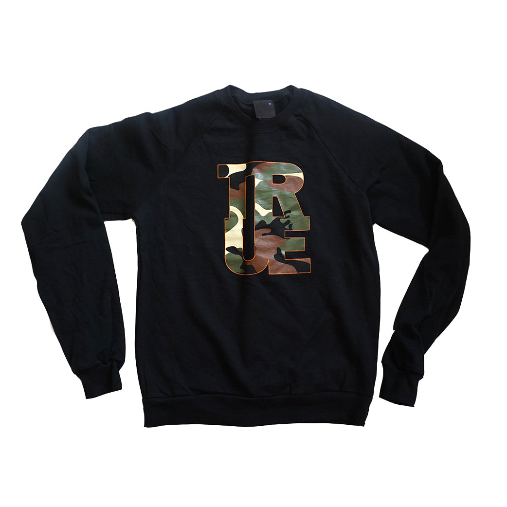 Womens True Logo Camo Crewneck Sweatshirt Black