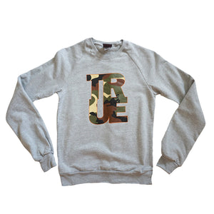 Womens True Logo Camo Crewneck Sweatshirt Heather Grey