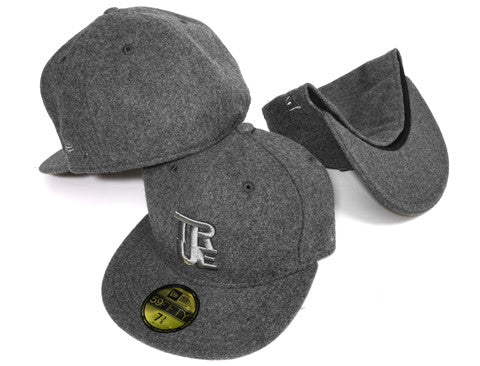 True Logo New Era Fitted Cap Grey Melton Wool
