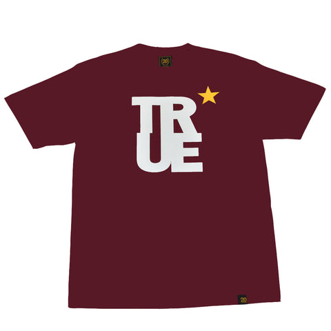 Mens True Logo Star T-Shirt Burgundy