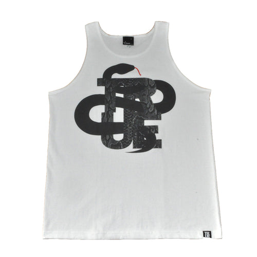 True Mens Logo Snake Tank Top White - Shop True Clothing