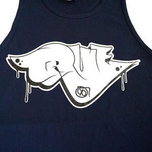 True Mens Throwie Tank Top Navy