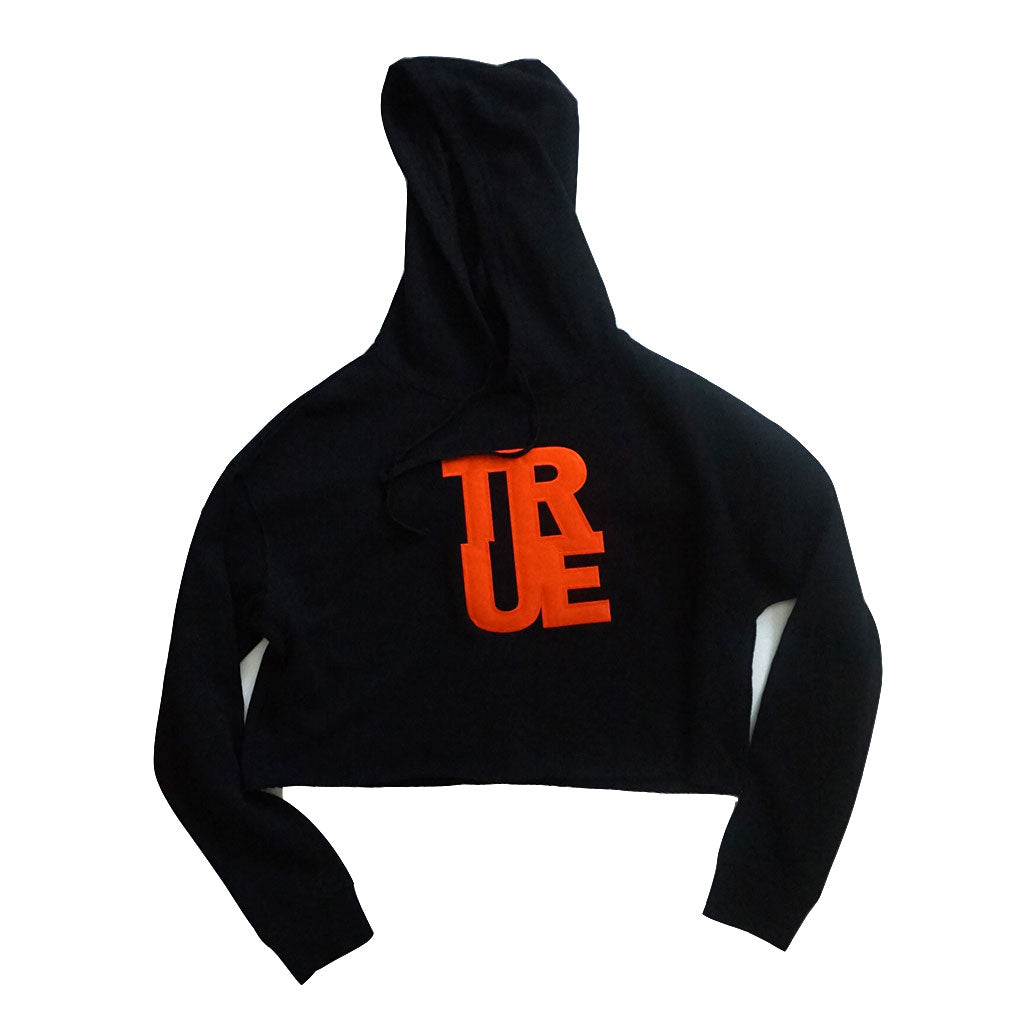 True Womens Logo Crop Hoodie Black/Orange
