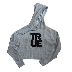 True Womens Logo Crop Hoodie Heather Grey/Black