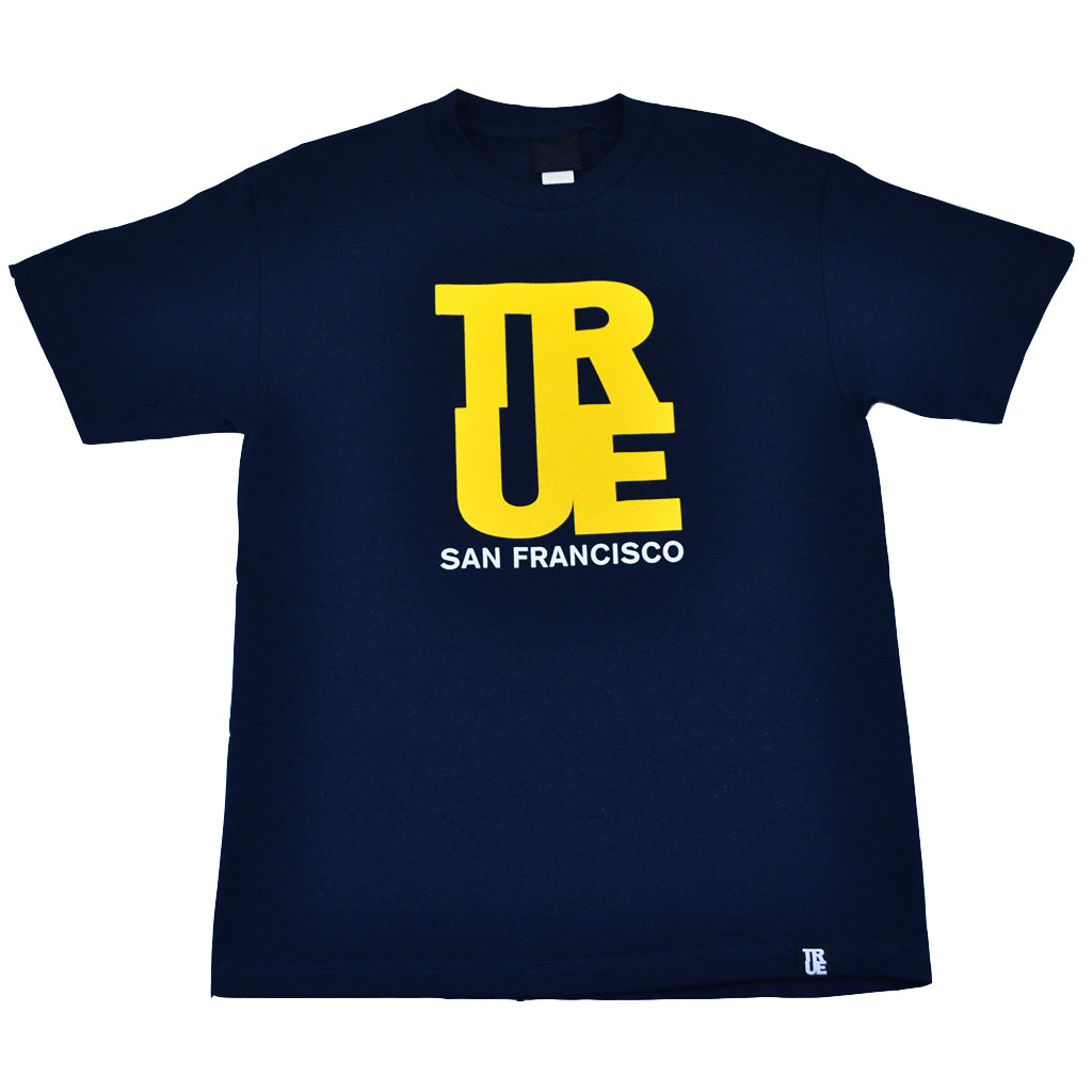 Mens True Logo SF T-Shirt Navy/Yellow - Shop True Clothing