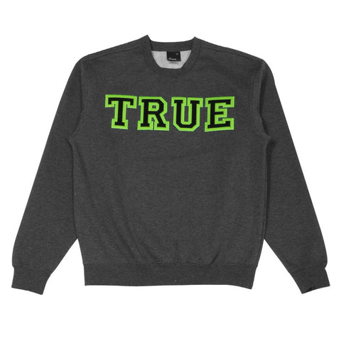 Mens True Vapid Crewneck Sweatshirt Charcoal/Neon