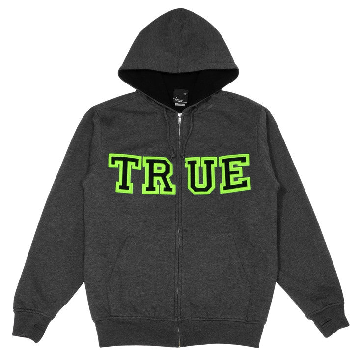Mens True Vapid Zip Hoodie Charcoal/Neon