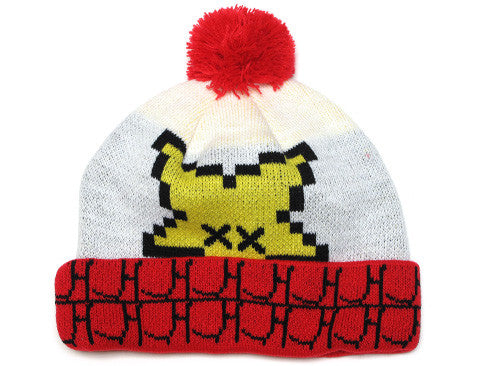 True Vincibility Pom Beanie White/Red