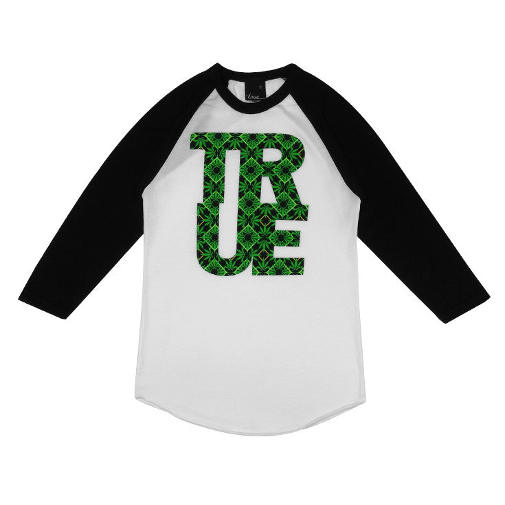 Womens True Argyle Raglan THC T-Shirt White/Black - Shop True Clothing