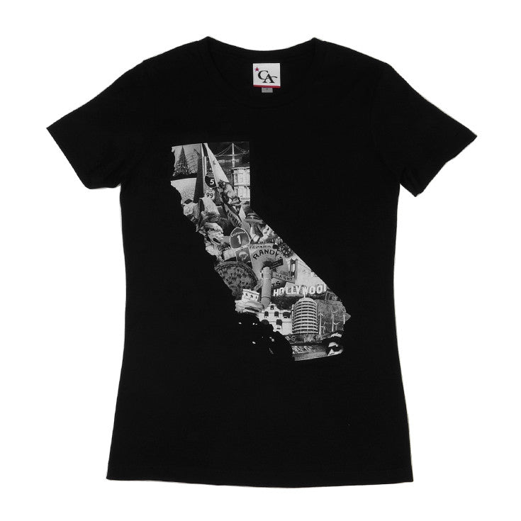 Womens Cali Photo T-Shirt Black